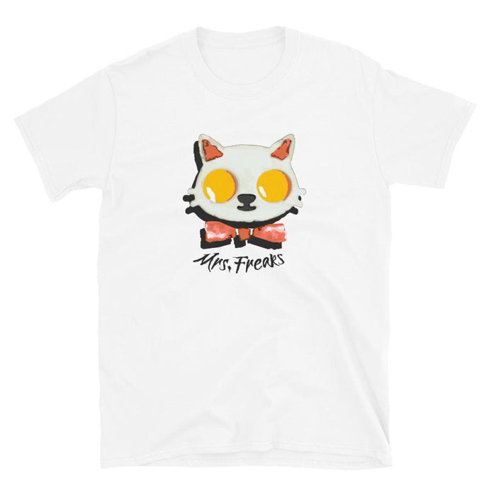 WHITE STRAIGHT T-SHIRT PRINTED KITTY EGGS BACON - Mrs Freaks