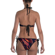Load image into Gallery viewer, MOONS UNICORNS BATS AND RED MARBLE REVERSIBLE GOTH WITCH BIKINI - Mrs Freaks