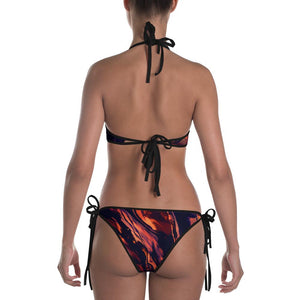 MOONS UNICORNS BATS AND RED MARBLE REVERSIBLE GOTH WITCH BIKINI - Mrs Freaks