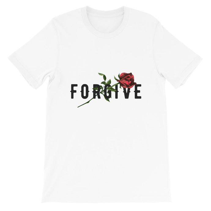 UNISEX AESTHETIC WHITE PRINTED T-SHIRT FORGIVE - Mrs Freaks