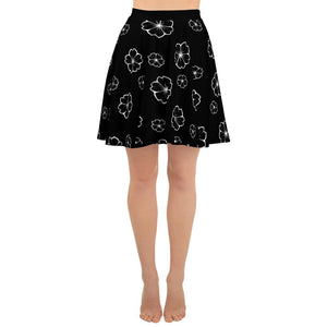 CHERRY BLOSSOM BLACK SKATER SKIRT - Mrs Freaks
