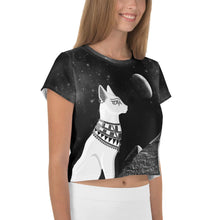 Load image into Gallery viewer, STAR SKY, EGYPTIAN CAT, MOON AND PYRAMIDS BLACK CROP-TOP - Mrs Freaks