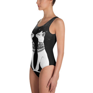 EGYPTIAN CATS AND MYSTIC STARRY SKY BLACK SWIMSUIT - Mrs Freaks