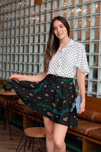 Load image into Gallery viewer, BLACK SKATER SKIRT LEAF ROSES PRINTED AND POLKA DOTS - Mrs Freaks