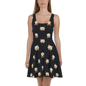 ALL OVER PRINTED SKATER DRESS KITTY EGGS BACON - Mrs.Freaks