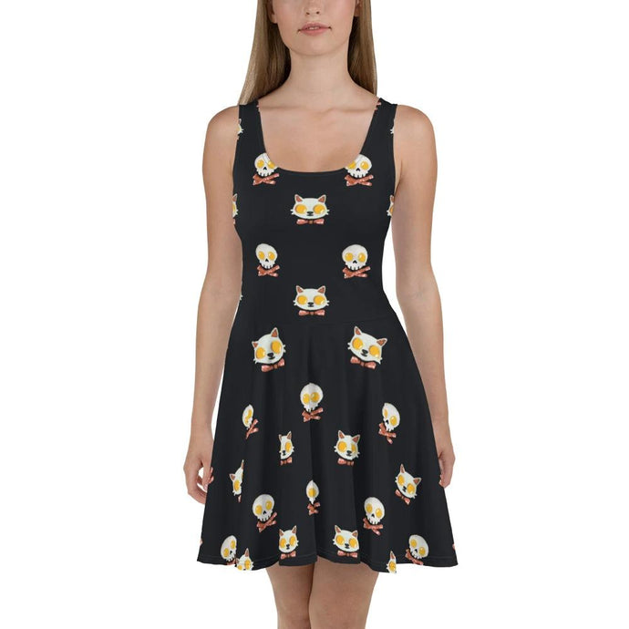 ALL OVER PRINTED SKATER DRESS KITTY EGGS BACON - Mrs Freaks