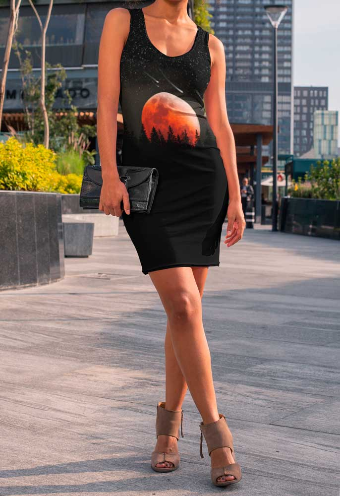 RED MOON, FIR, STARS AND COMETS BODYCON DRESS - Mrs Freaks