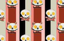 Load image into Gallery viewer, STRIPED CROP TOP T-SHIRT KITTY EGGS BACON PATTERN - Mrs Freaks