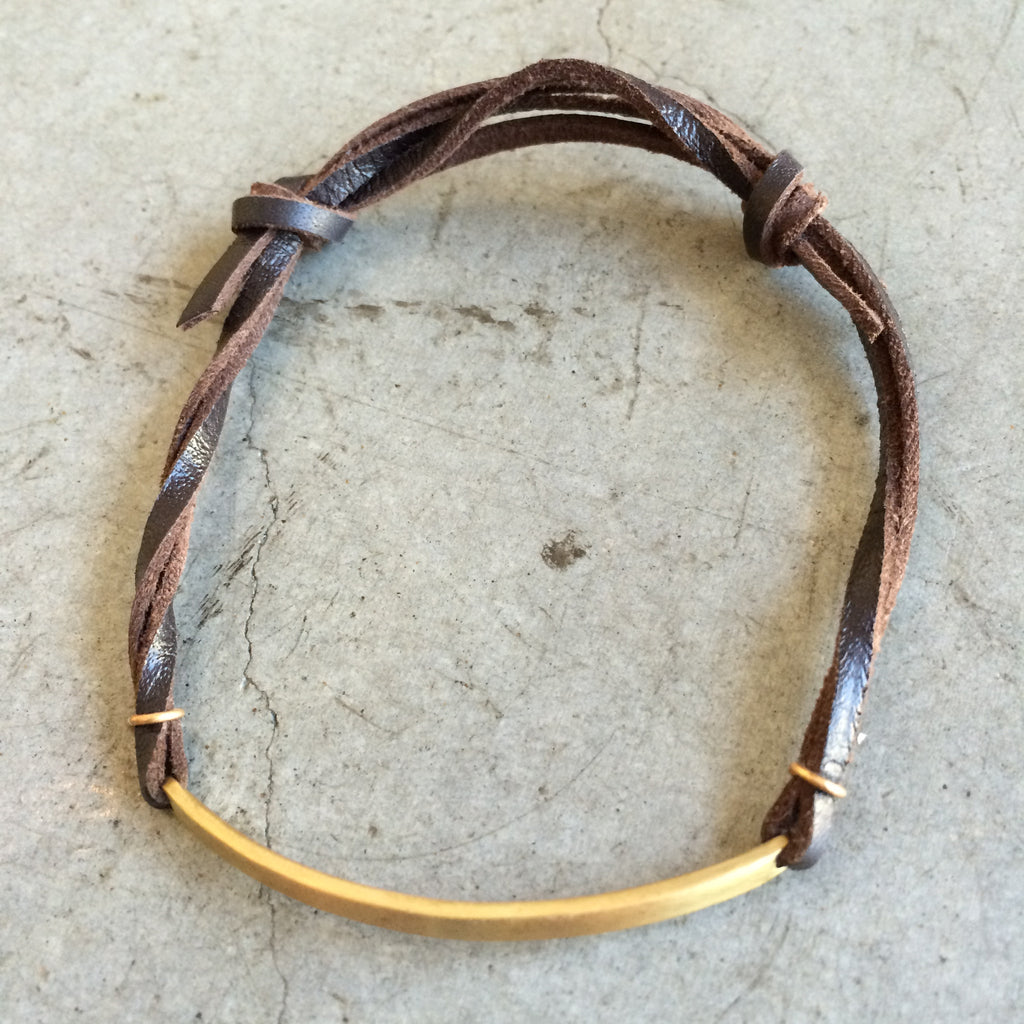 Leather & Brass ID Bracelet
