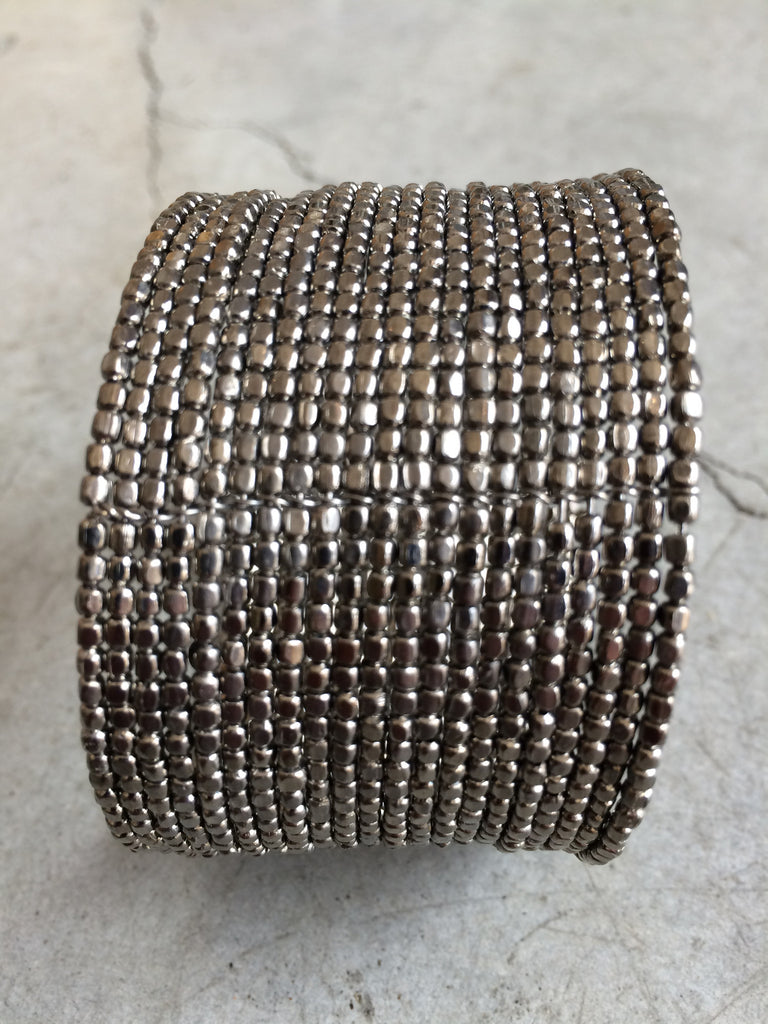 Dark Nickel Beaded Cuff
