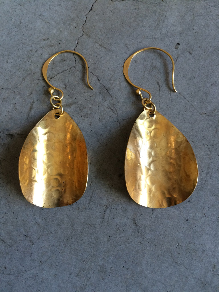 Burnished Brass Petal Earrings