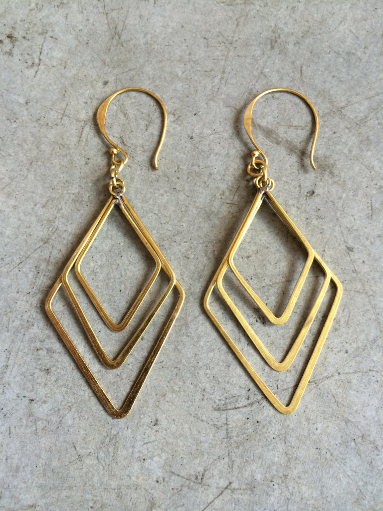 Brass Angles Earrings