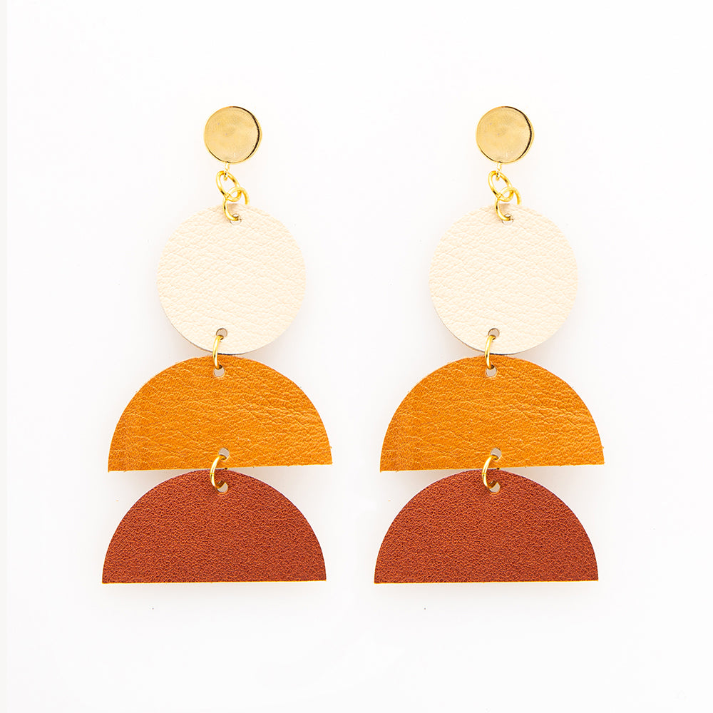 Leather Ombre Half Circles Earrings