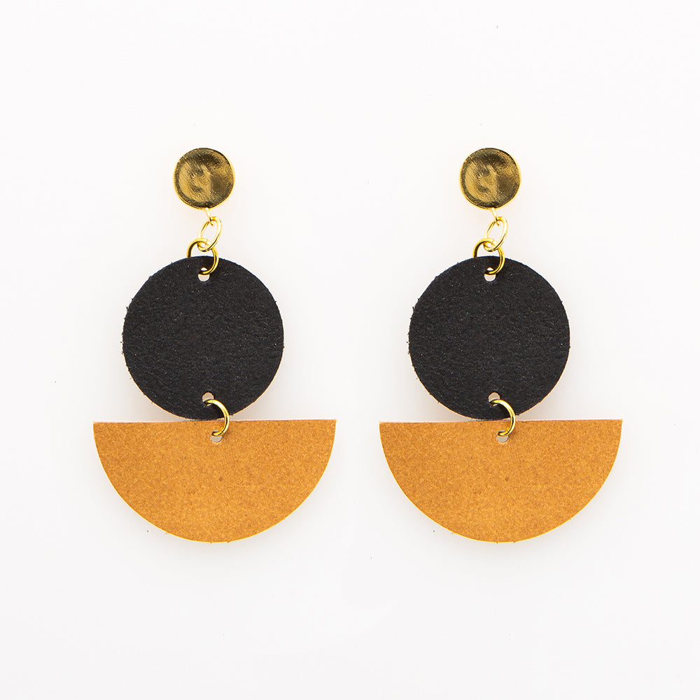 Leather Circle and Half Circle Earrings