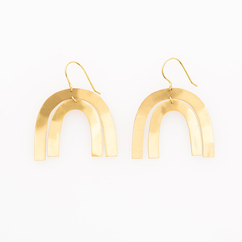 Rainbow Matte Brass Earrings