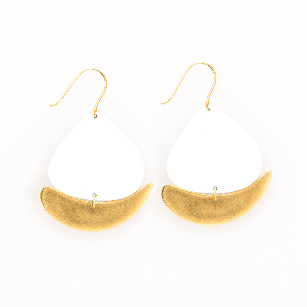 Boat White and Brass Earrings