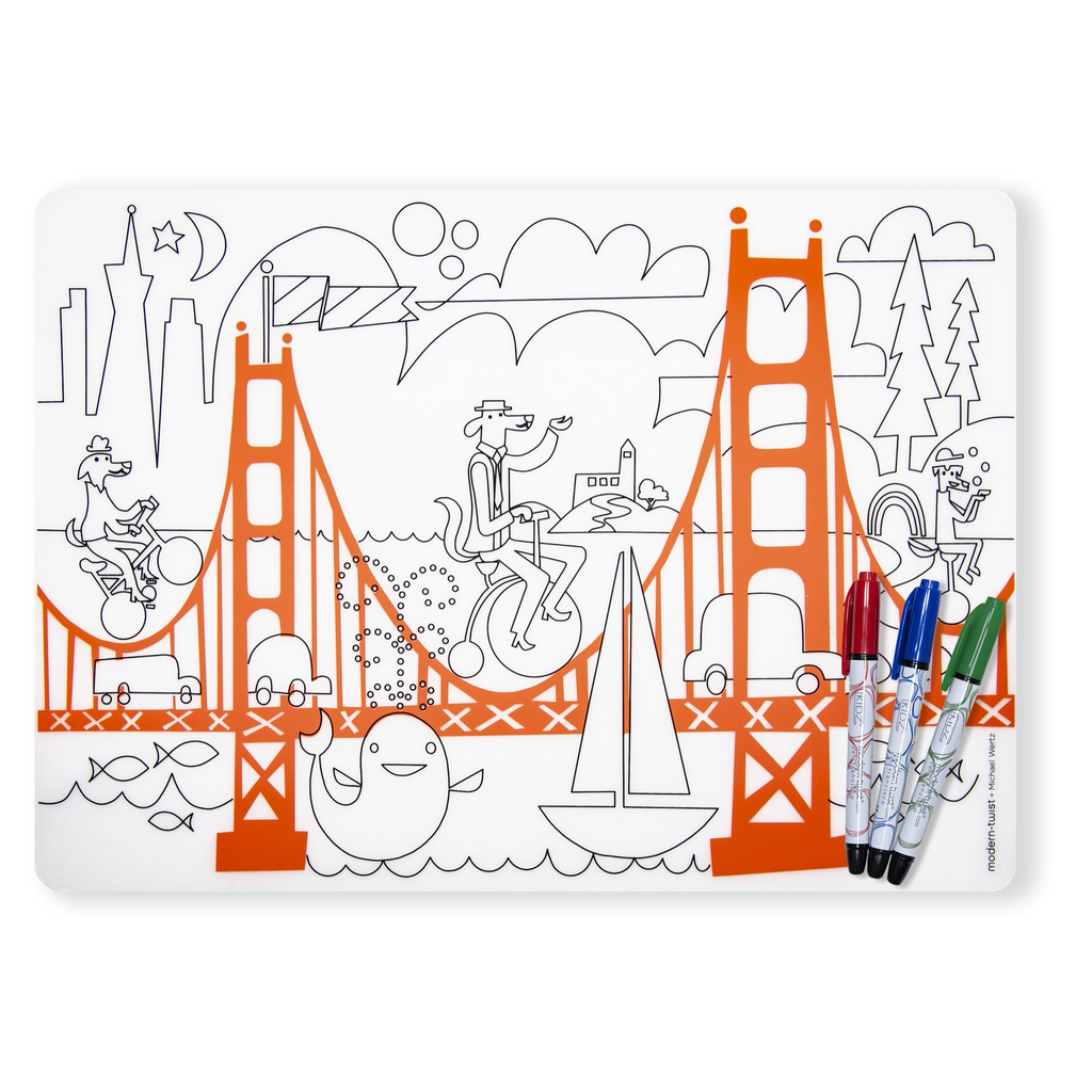Silicone Kids Table Mat & Marker Set