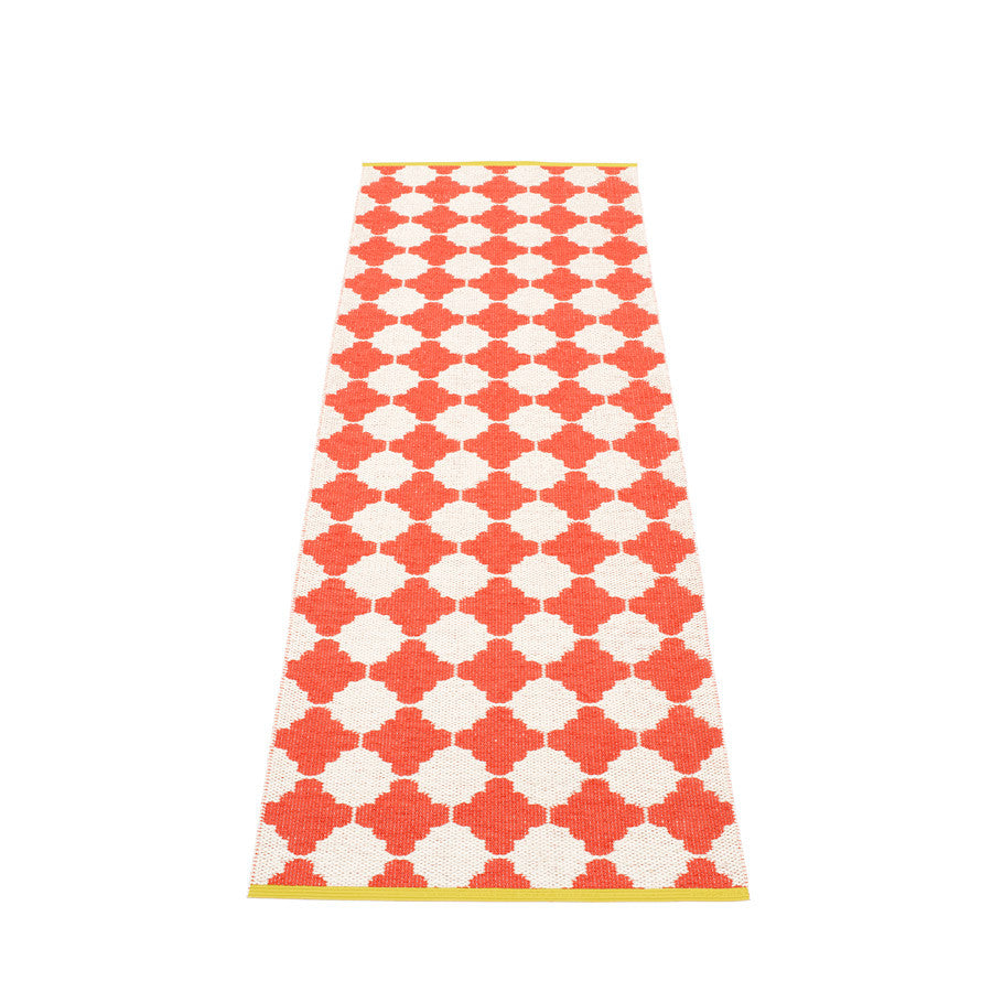 Marre Rug - Coral Red/Vanilla, Mustard Stripe Edge