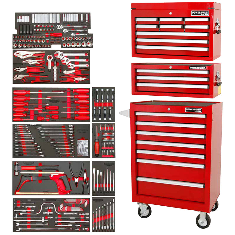 Powerbuilt 317pc Tool Chest, Roller Cabinet & Assorted Tools--Onlinetools