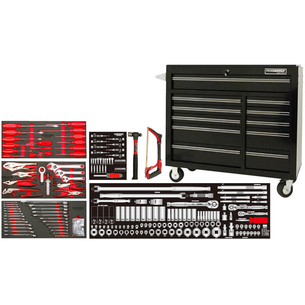 "Powerbuilt 253pc 41"" Roller Cabinet & Assorted Tools - Online Tools"