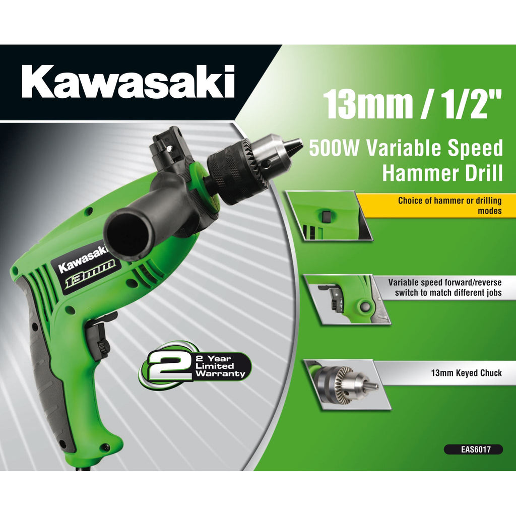 KAWASAKI 13MM 500W VARIABLE SPEED HAMMER DRILL KAWASAKI  SELLOUT!