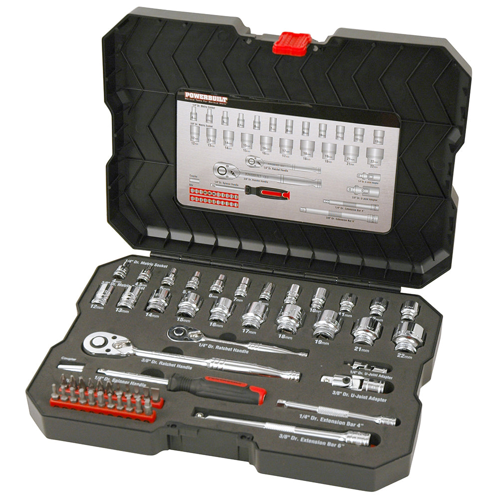 "1/4"" Dr, 3/8"" Dr 53pc Metric Socket Set - Online Tools"