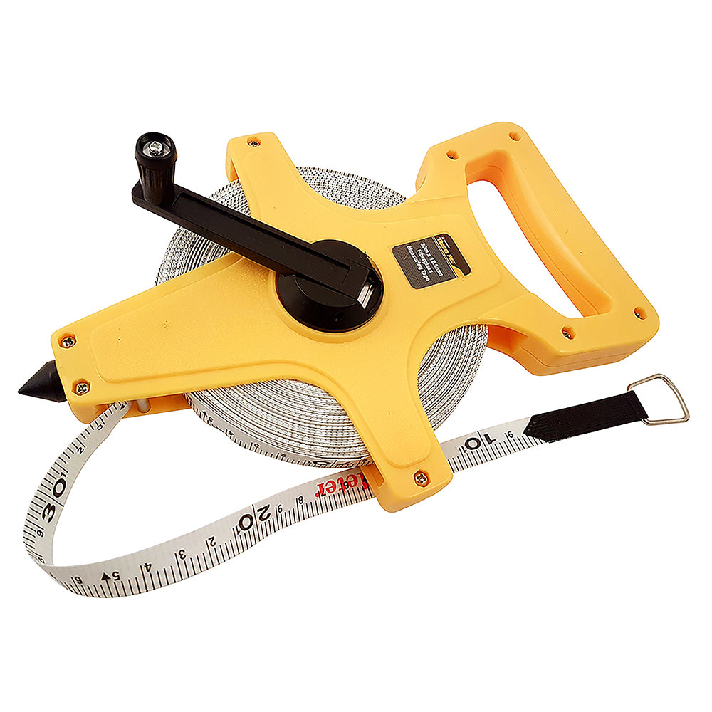 30M Metric Open Frame Fibreglass Tape Measure - Online Tools