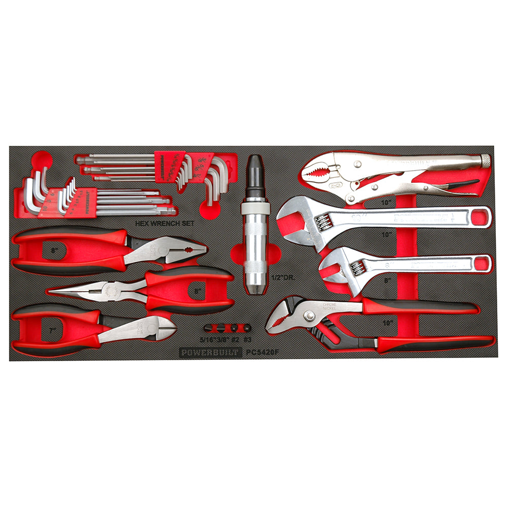 Powerbuilt 31pc Plier, Hex Key and Adjustable Wrench Tray--Onlinetools