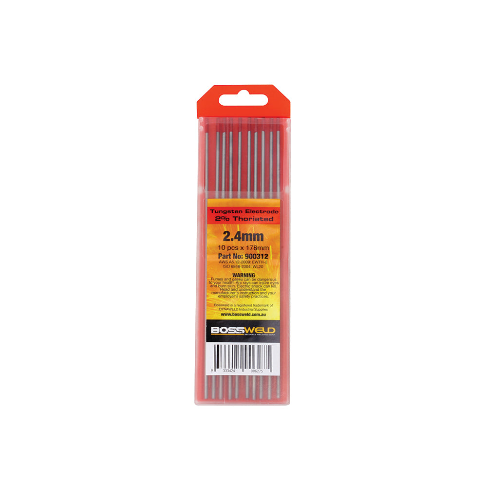 Bossweld Electrode Tungsten 2% Thoriated - 4.0mm x 178mm 10pk