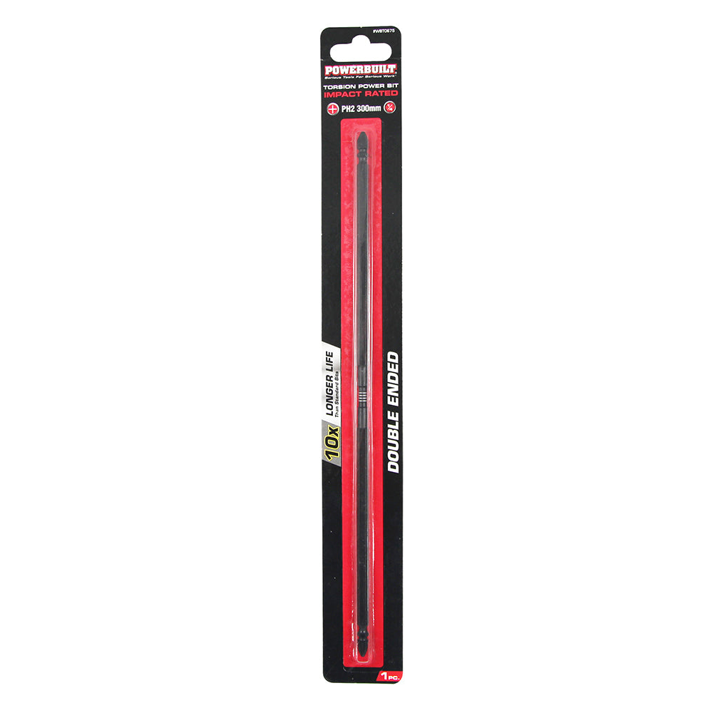 "1/4"" Torsion Impact Power Bit - Phillips #2 x 300mm Long Double Ended  - Online Tools"