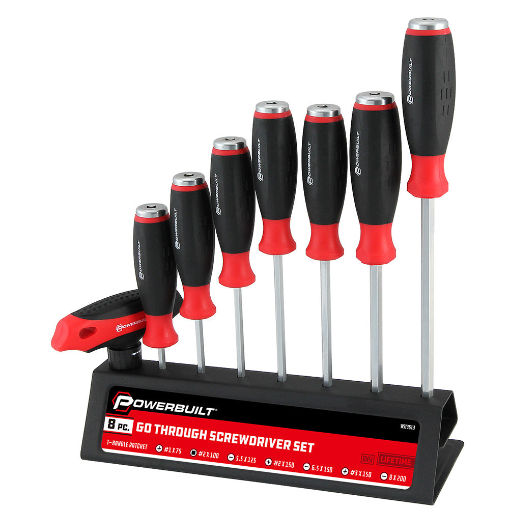 Powerbuilt 8pc 'Go-Through' Screwdriver Set--Onlinetools