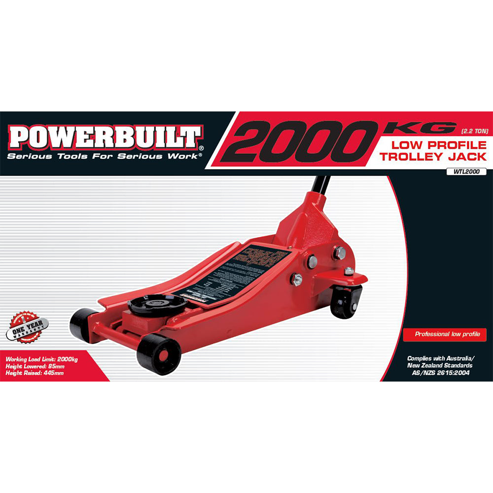 2.2 Ton / 2000kg Low Profile Garage Jack - Online Tools