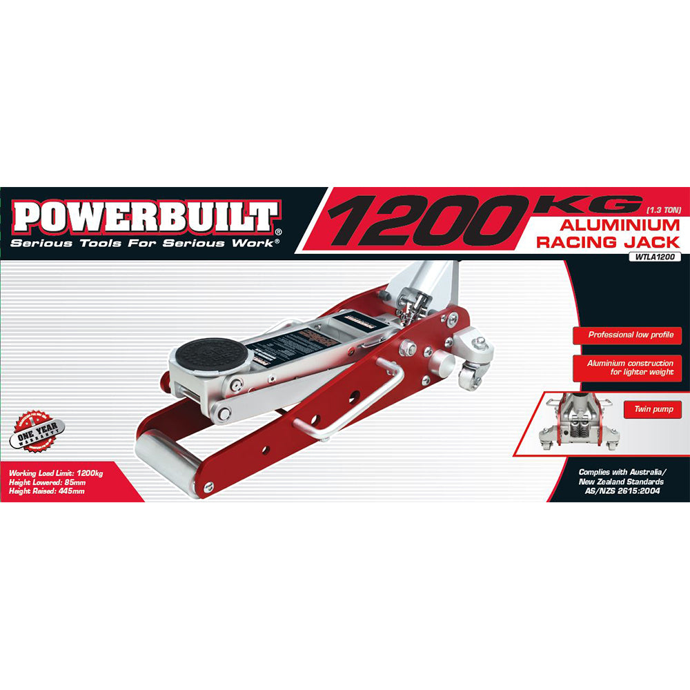 1.3 Ton / 1200kg Low Profile Aluminium Racing Jack - Online Tools