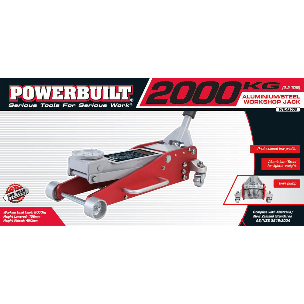 Powerbuilt 2.2 Ton / 2000kg Low Profile Garage Jack (Steel/Aluminium)--Onlinetools