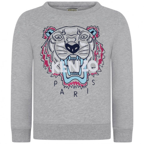 KENZO KIDS GREY MARL TIGER SWEATER