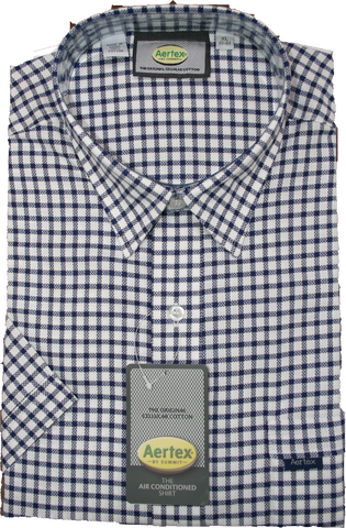 Aertex Navy check SS Shirt 88395