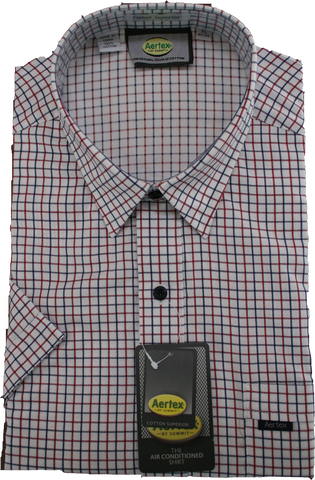 Aertex Navy Window Check Shirt