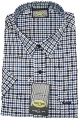 Aertex Taupe/Blue Check SS Shirt