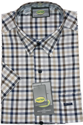 Aertex Navy/Brown Check SS Shirt