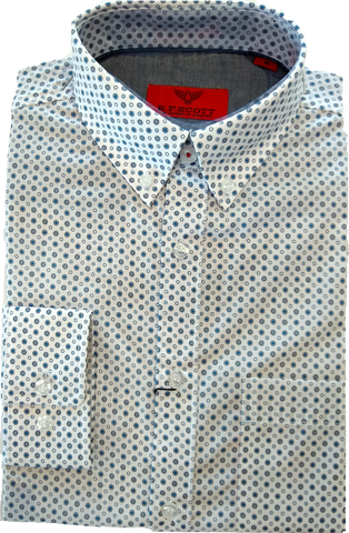 R.F Scott Angus Blue Circle Print LS Shirt