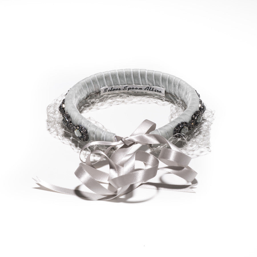 Crystal Headband w/ Mesh Veil (All Grey)