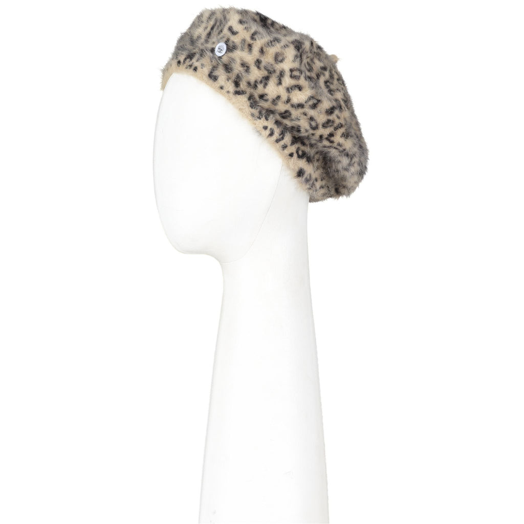 Leopard Beret with Pin