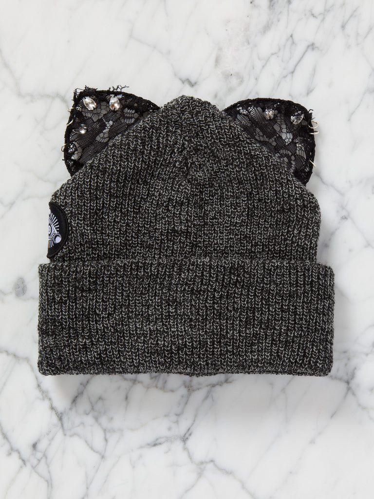 Bad Kitty Beanie (Antique Grey)
