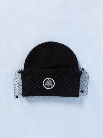 Kids Mesh Bow Beanie (Black)