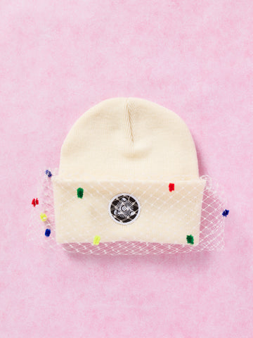 Kids Mesh Bow Beanie (Cream)