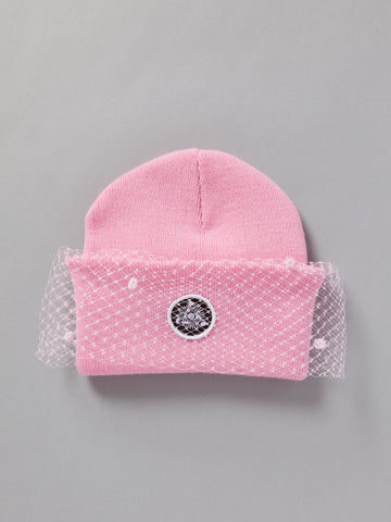 MESH BOW BEANIE (BABY PINK)