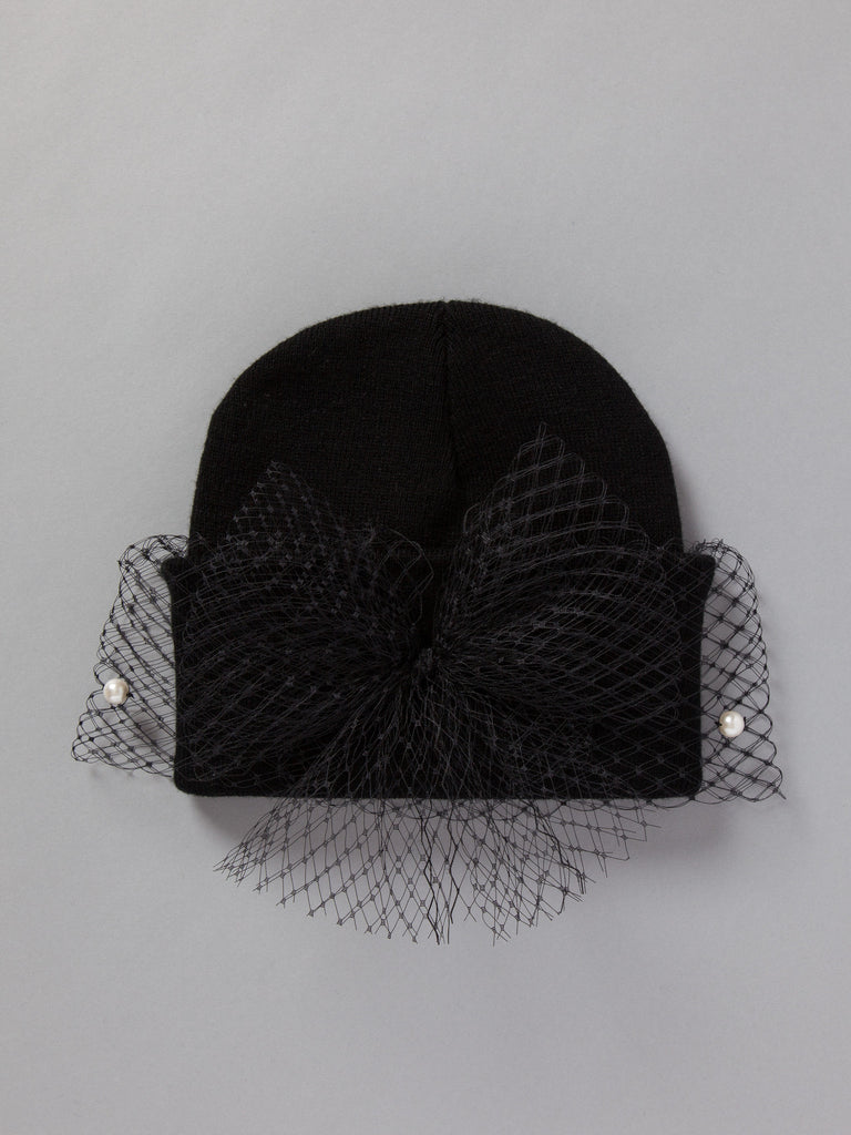 MESH BOW W/ PEARLS (BLACK)