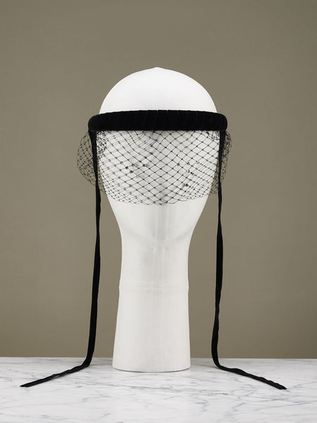Velvet Headband w/ Short Mesh Veil and Crystals (Black)