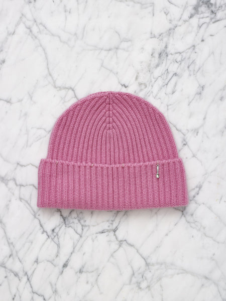 Cashmere Beanie with Piercing (Pink)