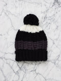 COSY BEANIE WITH POM (BLACK / GREY / WHITE)